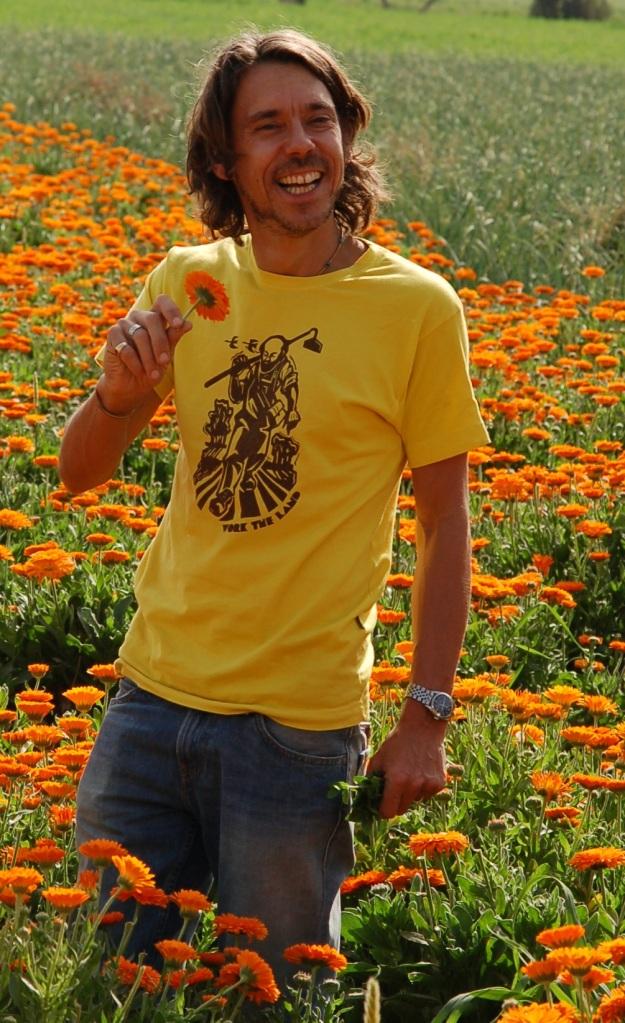 Sebastian in a field of organic Marigolds copy
