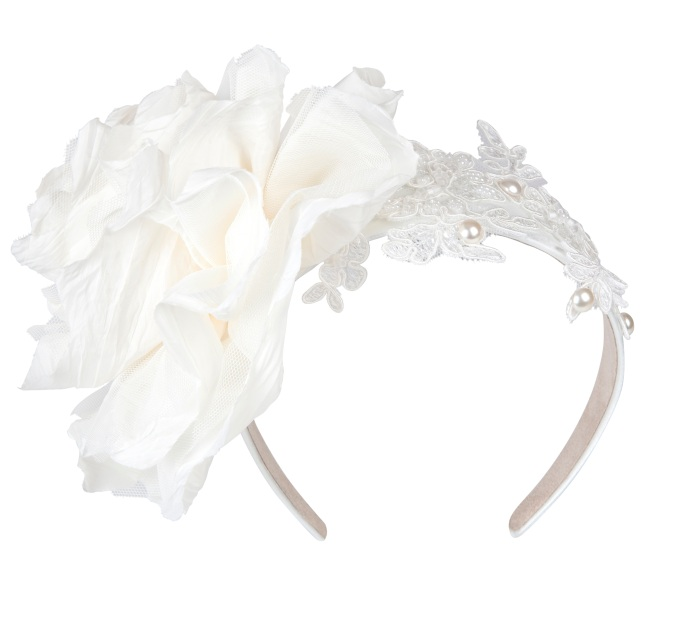Aoife Harrison - Ivory Lace Hairband with Silk Flower - High